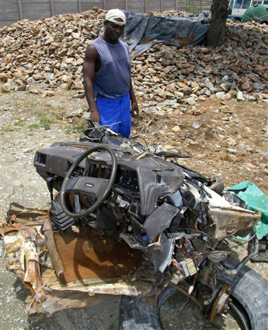 Part of the remains of the car